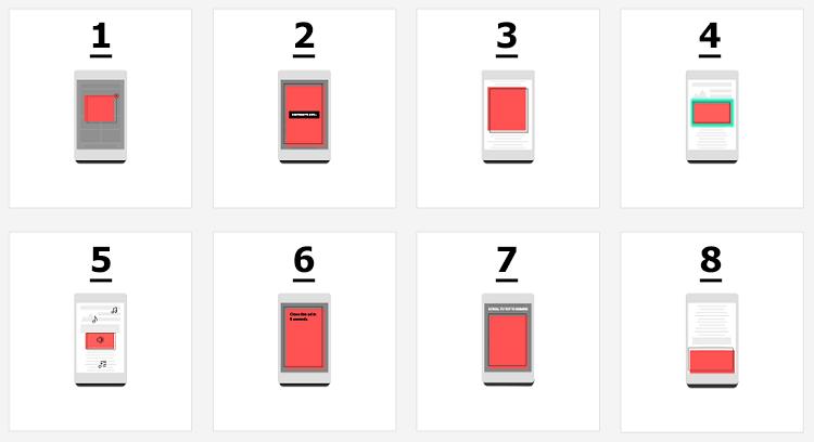 Mobil tarayıcılarda global better ads standartları tarafından istenmeyen reklam türleri