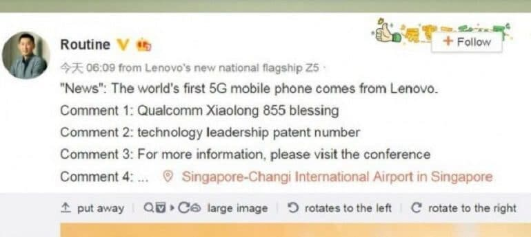 Lenovo VP'si Chang Cheng Weibo üzerinden paylaştığı mesaj